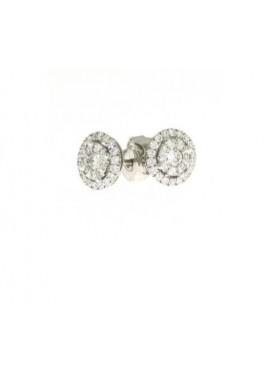 Orecchini punto luce fantasia oro bianco e diamanti ct. 0,34+0,13 - Cicalese Gioielli Valenza Made in Italy