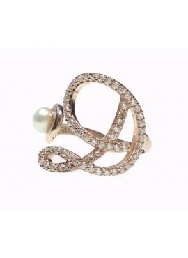 Anello donna argento rose gold con perle e cristalli - iniziale D - Marcello Pane