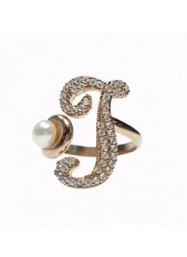 Anello donna argento rose gold con perle e cristalli - iniziale I - Marcello Pane