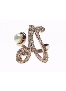 Anello donna argento rose gold con perle e cristalli - iniziale N - Marcello Pane