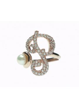 Anello donna argento rose gold con perle e cristalli - iniziale P - Marcello Pane
