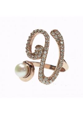 Anello donna argento rose gold con perle e cristalli - iniziale V - Marcello Pane