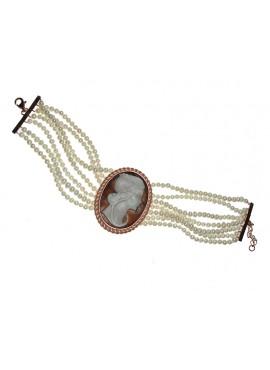 Bracciale donna argento rosa Cameo Italiano Raffaello con cameo mm. 38