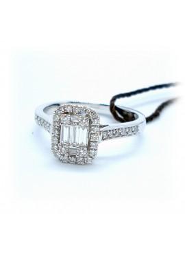Anello donna oro bianco con diamanti Baguette ct. 0,46 misura 14 - Ny Nai by Fani gioielli