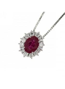 Collana donna oro bianco con Rubino e diamanti - Cicalese Gioielli Valenza Made in Italy