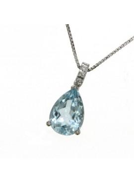 Collana donna oro bianco con Acquamarina e diamanti - Cicalese Gioielli Valenza Made in Italy