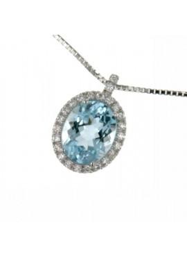 Collana donna oro bianco con Acquamarina ovale e diamanti - Cicalese Gioielli Valenza Made in Italy