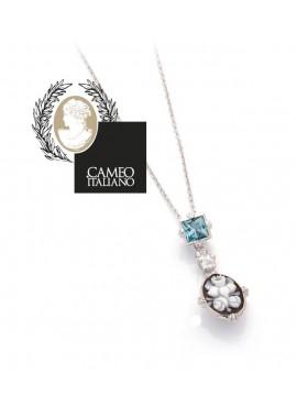 Collana donna argento Cameo Italiano Luci con cameo e cristalli celesti
