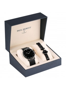 Orologio uomo solo tempo Box Set  Paul Hewitt Sailor Black con bracciale IP black XXL
