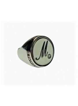 Anello unisex argento rodiato Icone Letters M chevalier con smalto bianco - Mediterraneo gioielli - SALDI