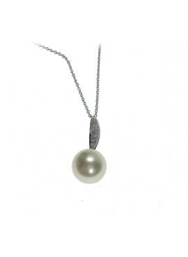 Pendente Perla Mari del Sud 11/12 oro bianco con diamanti - Nihama