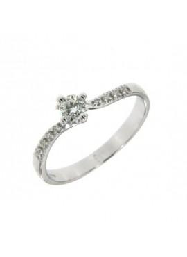 Anello donna oro bianco Solitario con diamante ct. 0,19+0,05 misura 14 - Cicalese Gioielli Valenza Made in Italy