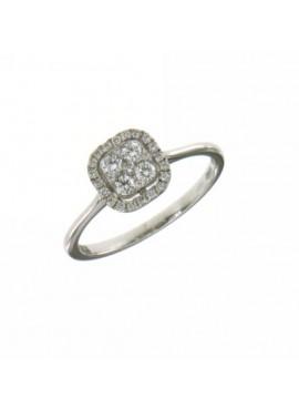 Anello donna oro bianco Fantasy con diamanti ct. 0,30 misura 16 - Cicalese Gioielli Valenza Made in Italy