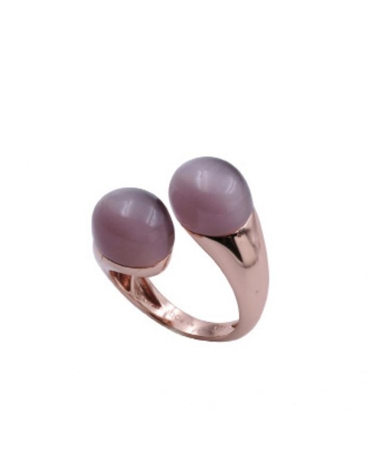Anello donna argento rosè contrariè Fogi By Gianni Carità violet