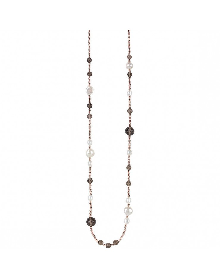 Collana donna Bliss Oceania argento rosa, onice e perle
