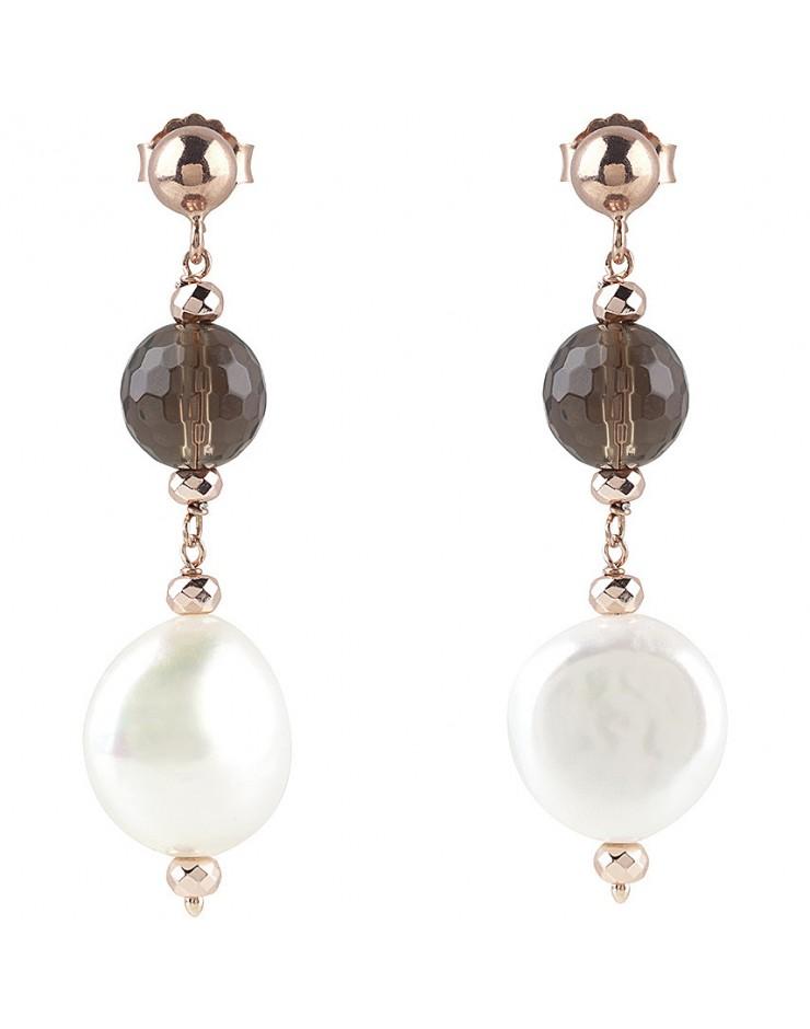 Orecchini donna Bliss Oceania argento rosa e perle