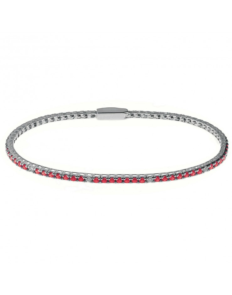 Bracciale donna Tennis Rosso Bliss Mywords argento