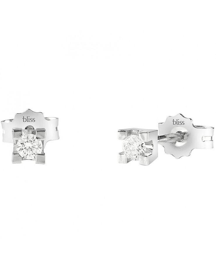 Orecchini donna Bliss Dream oro bianco 18kt. punto luce con Diamanti tot. ct. 0.02