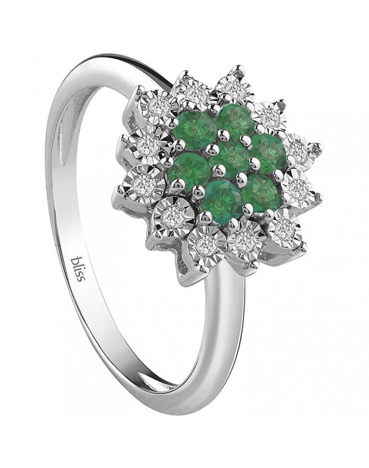 Anello donna Bliss Elisir oro bianco 18kt., Smeraldi e Diamantii Misura 13