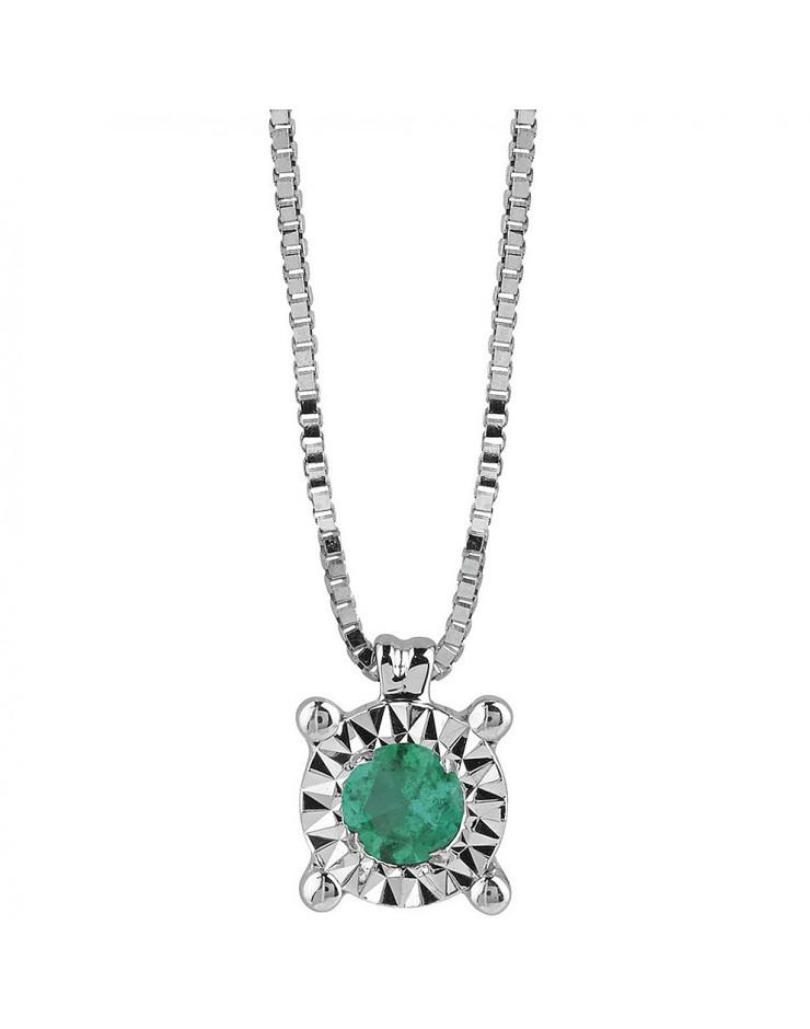 Collana donna Bliss Rugiada oro bianco 18kt. con Smeraldo