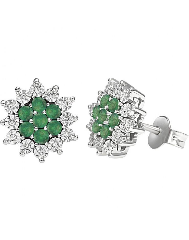 Orecchini donna Bliss Elisir oro bianco 18kt., Smeraldi e Diamantii