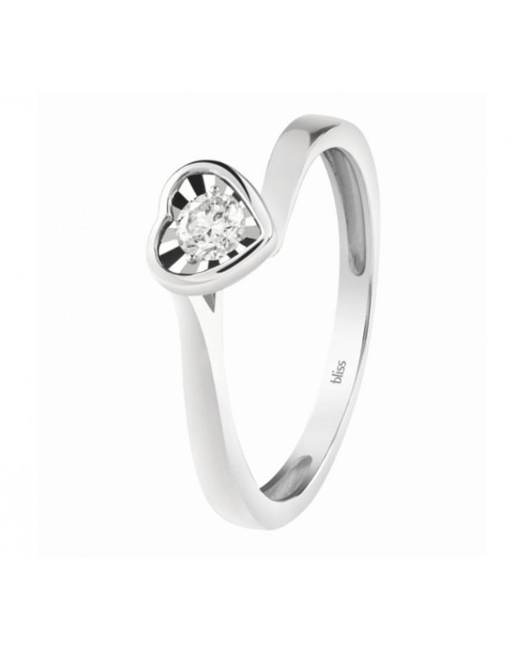 Anello donna Bliss Solitario Lumina Cuore oro bianco 18kt. con Diamante tot. ct. 0,13 Misura 13