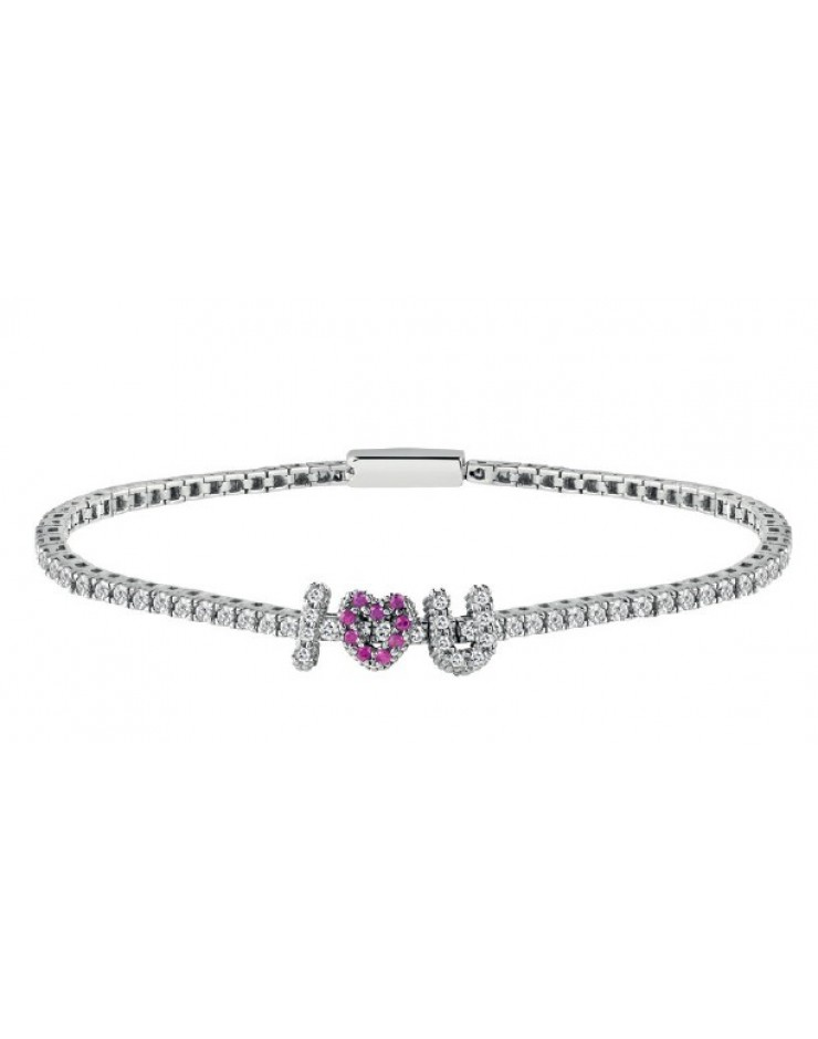 Bracciale donna Tennis Bliss Mywords I Love You argento