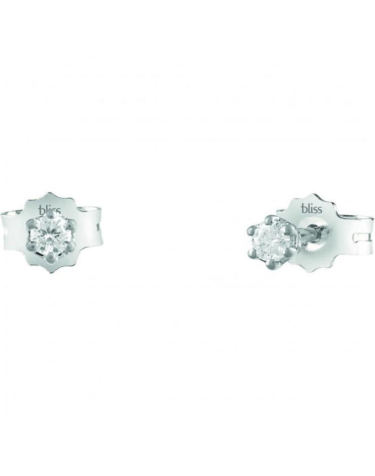 Orecchini donna Bliss Dream oro bianco 18kt. punto luce con Diamanti tot. ct. 0.04