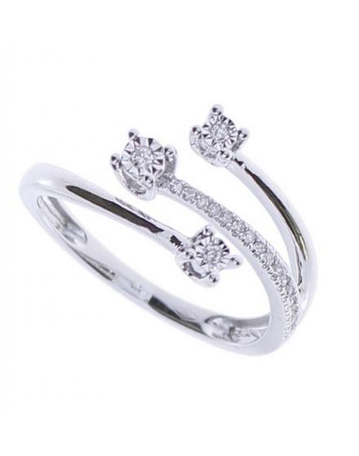 Anello donna Bliss Rugiada Fascia Trilogy oro bianco 18kt. con Diamante tot. ct. 0,07 Misura 13