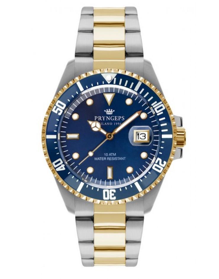 Orologio solo tempo uomo Pryngeps  Milano 1956 Bicolore Sub Professional 100 MT Blu