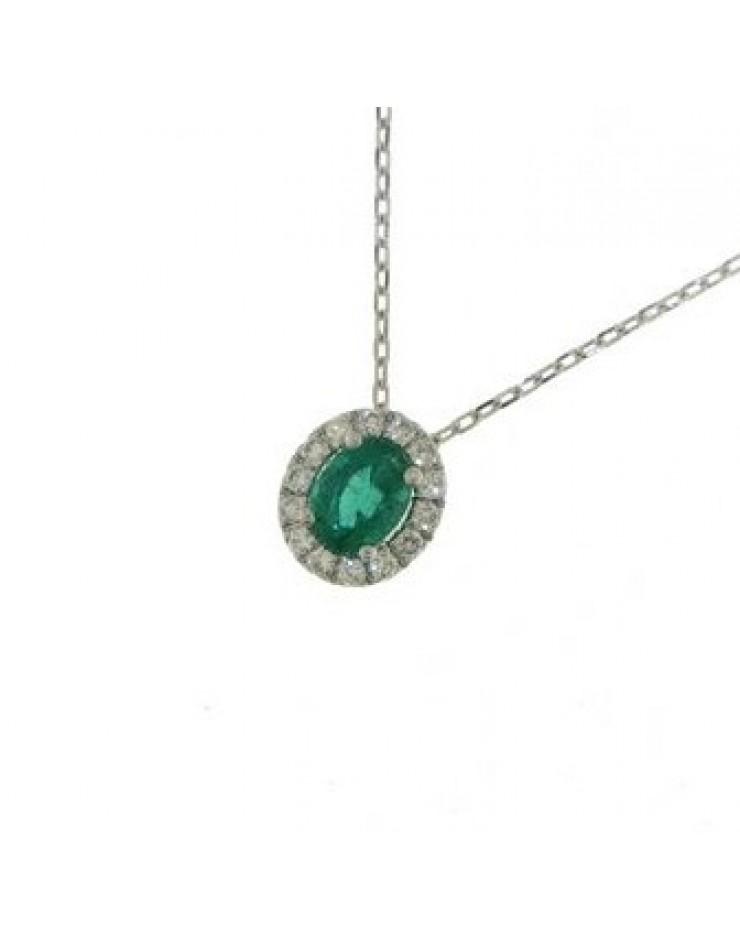 Collana donna oro bianco con Smeraldo e Diamanti - Cicalese Gioielli Valenza Made in Italy