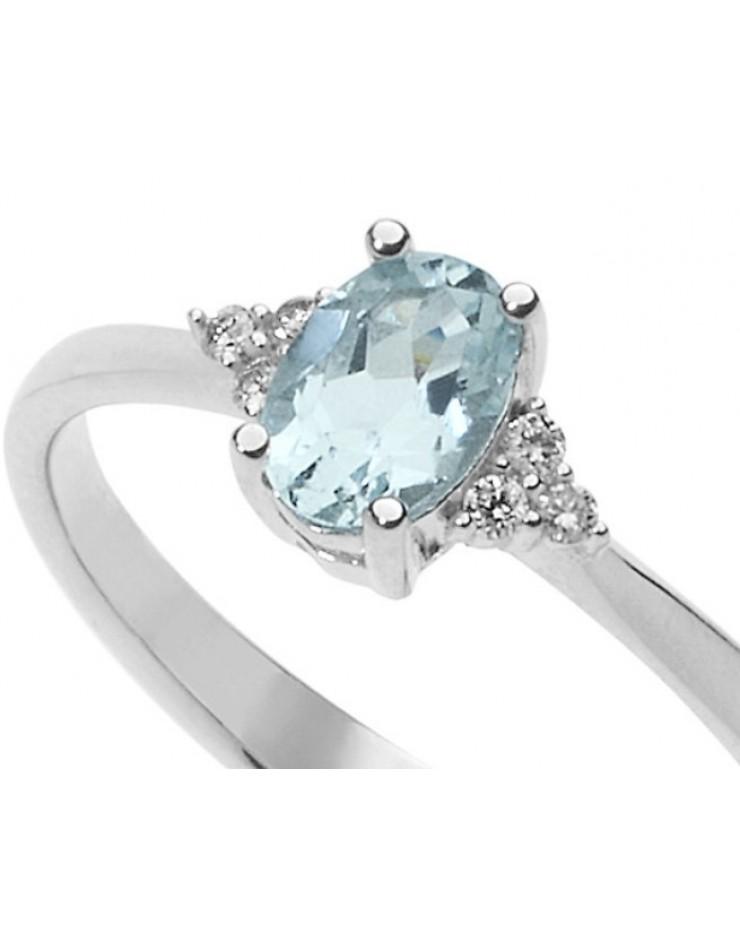 Anello donna oro bianco Bibigì Acquamarina e diamanti Pret-a-porter