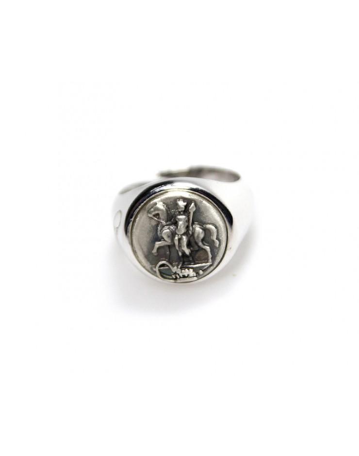 Anello unisex Made in Nuceria - Moneta Didramma in argento - Gioiello Artigianale - Apollo