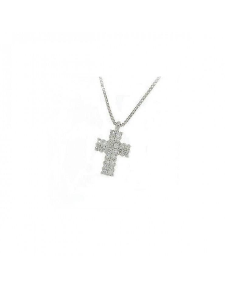 Collana donna oro bianco Croce con diamanti tot. ct. 0,14 - Cicalese Gioielli Valenza Made in Italy