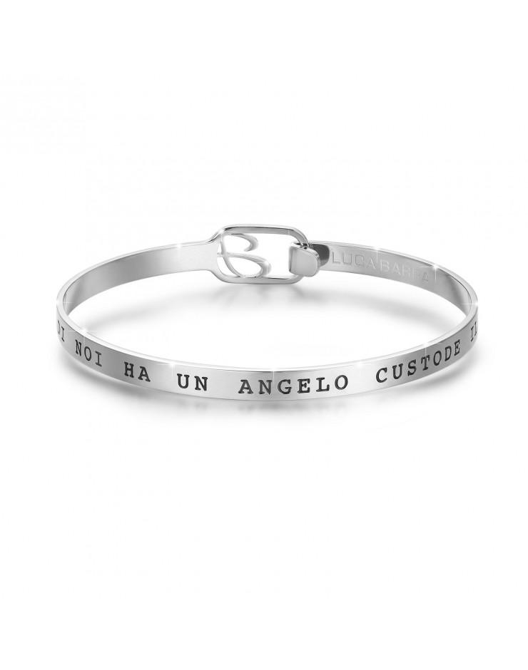 """Bracciale unisex rigido acciaio Luca Barra """"Ognuno di noi ha un angelo custode e il mio sei tu"""""""