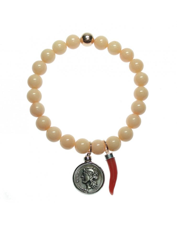 Bracciale donna Made in Nuceria - Moneta Didramma in argento e bambù rosa - Gioiello Artigianale - Fortuna