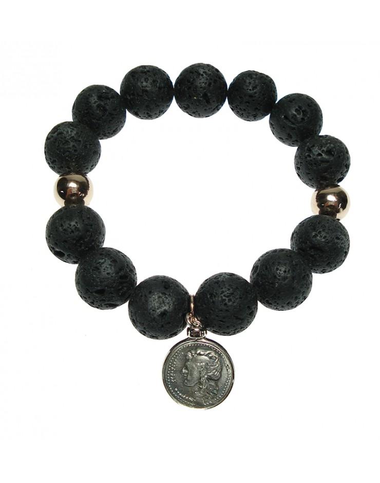 Bracciale donna Made in Nuceria - Moneta Didramma in argento e p. lavica - Gioiello Artigianale - Iride