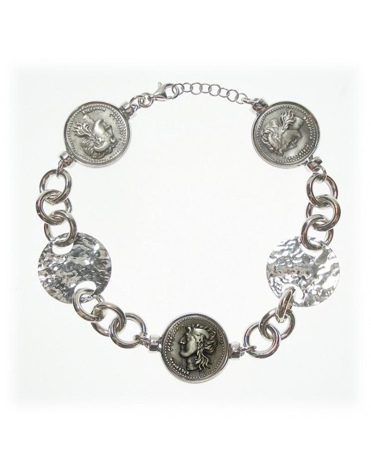 Bracciale donna Made in Nuceria - Moneta Didramma in argento - Gioiello Artigianale - Apollo