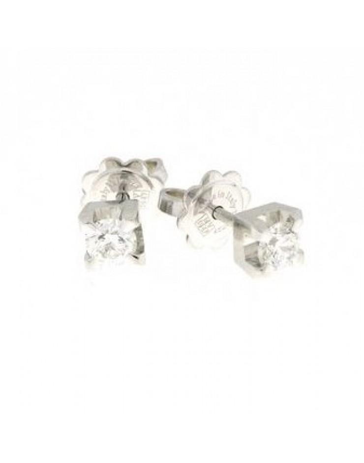 Orecchini punto luce oro bianco e diamanti ct. 0,14 G VS - Cicalese Gioielli Valenza Made in Italy