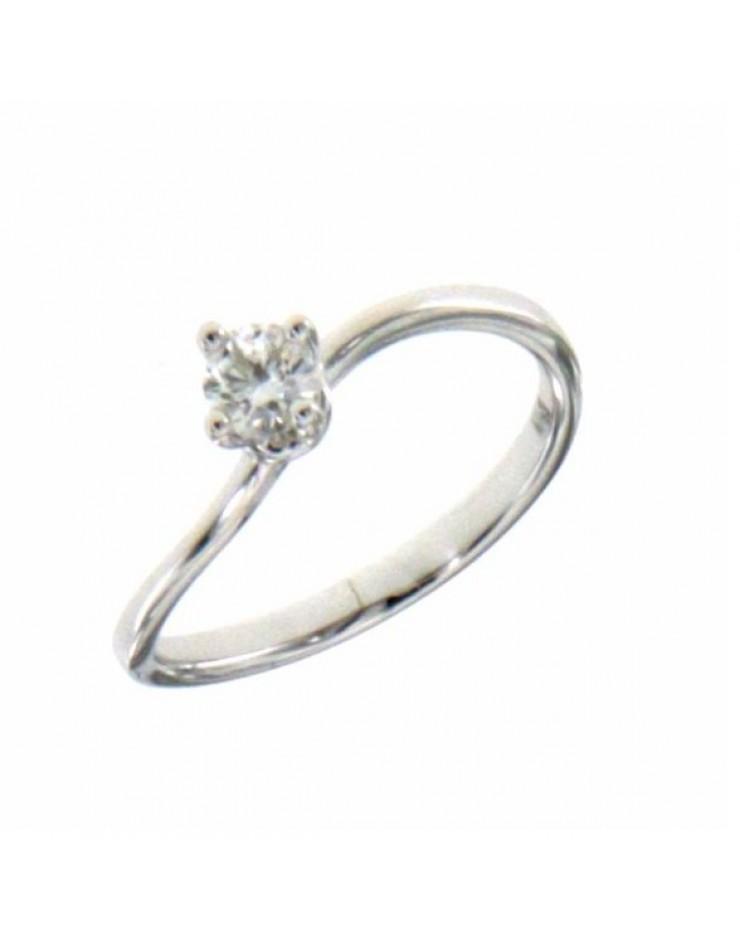 Anello donna oro bianco Solitario con diamante ct. 0,26 misura 15 - Cicalese Gioielli Valenza Made in Italy