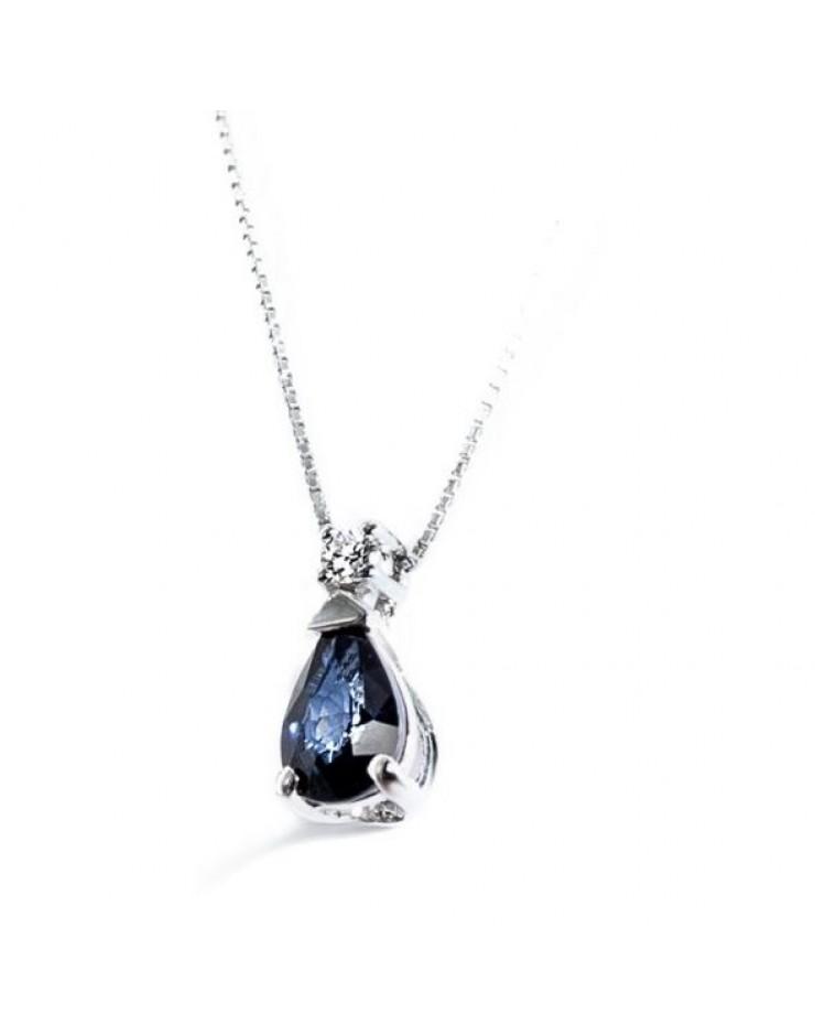 Collana donna oro bianco Bibigì Zaffiro Blu diamante Pret-a-porter