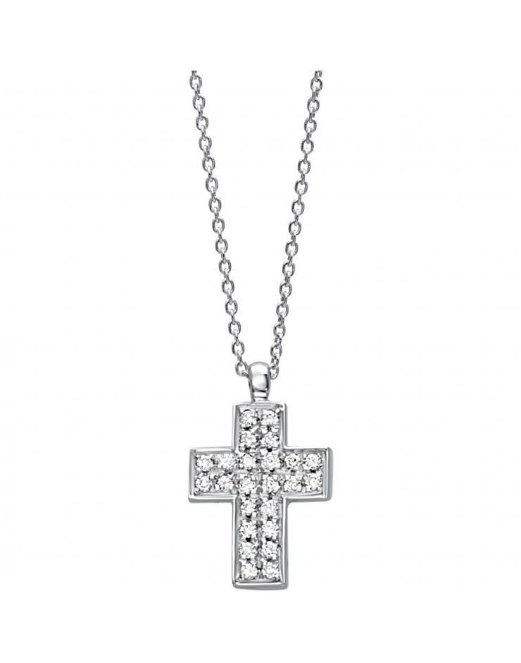 Collana donna oro bianco Bibigì Croce con diamanti Pret-a-porter