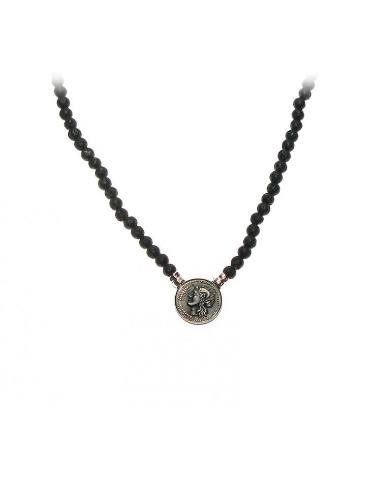 Collana donna Made in Nuceria - Moneta Didramma in argento e pietra lavica - Gioiello Artigianale - Vulcano