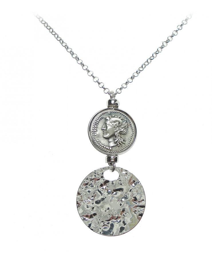 Collana donna Made in Nuceria - Moneta Didramma in argento - Gioiello Artigianale - Apollo