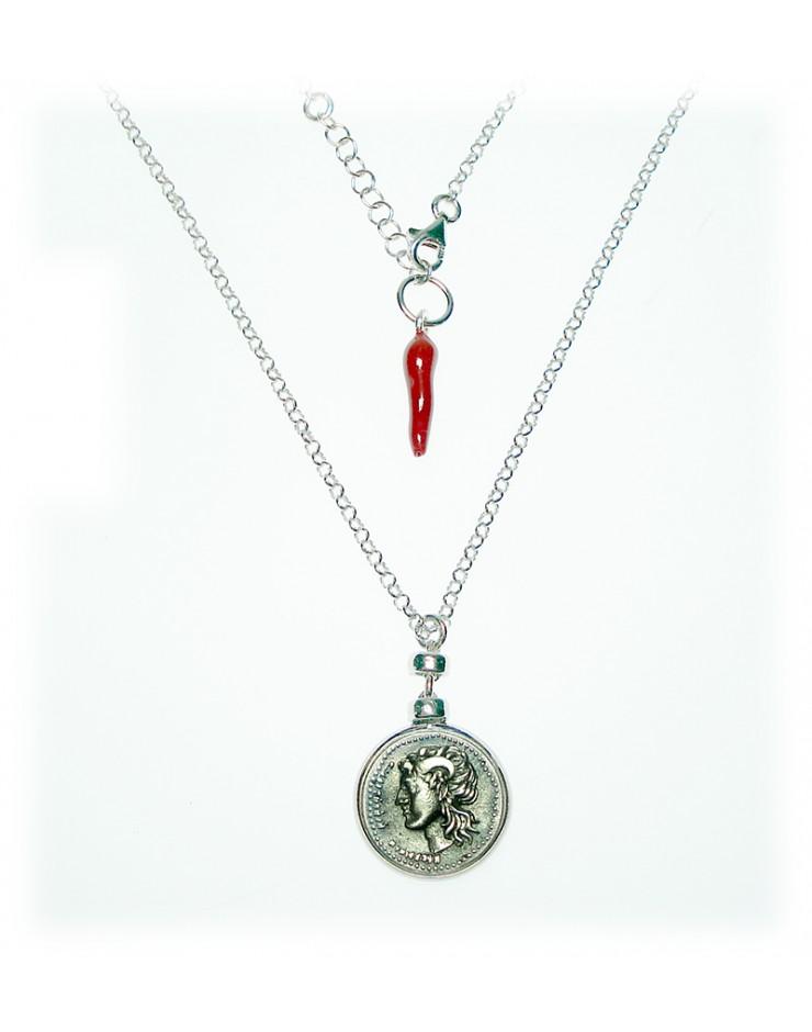 Collana donna Made in Nuceria - Moneta Didramma in argento con corno - Gioiello Artigianale - Fortuna