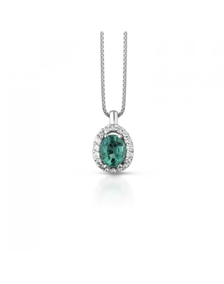Collana donna Tramontano gioielli, oro bianco, diamanti e smeraldi