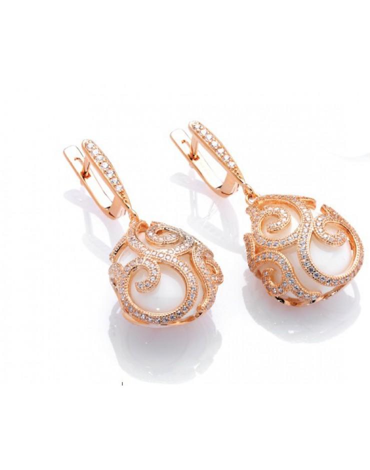 Orecchini Maison Tatiana Fabergè argento rose gold con agata bianca e cristalli Alexandra