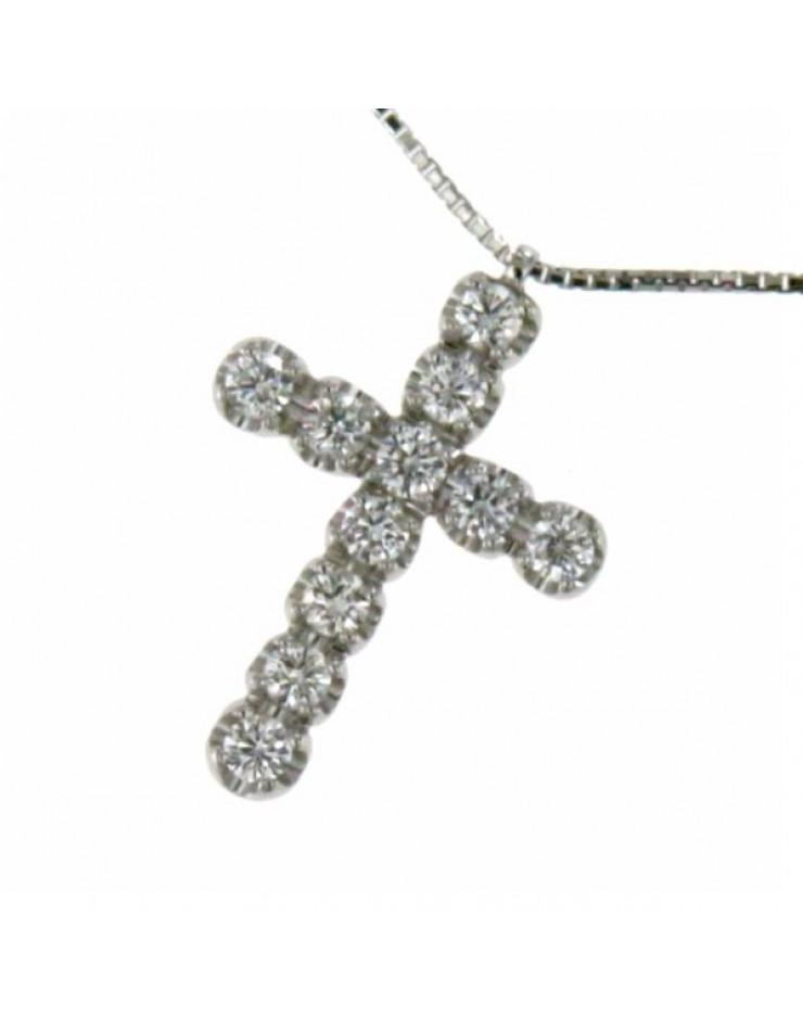 Collana donna oro bianco Croce con diamanti tot. ct. 0,76 - Cicalese Gioielli Valenza Made in Italy