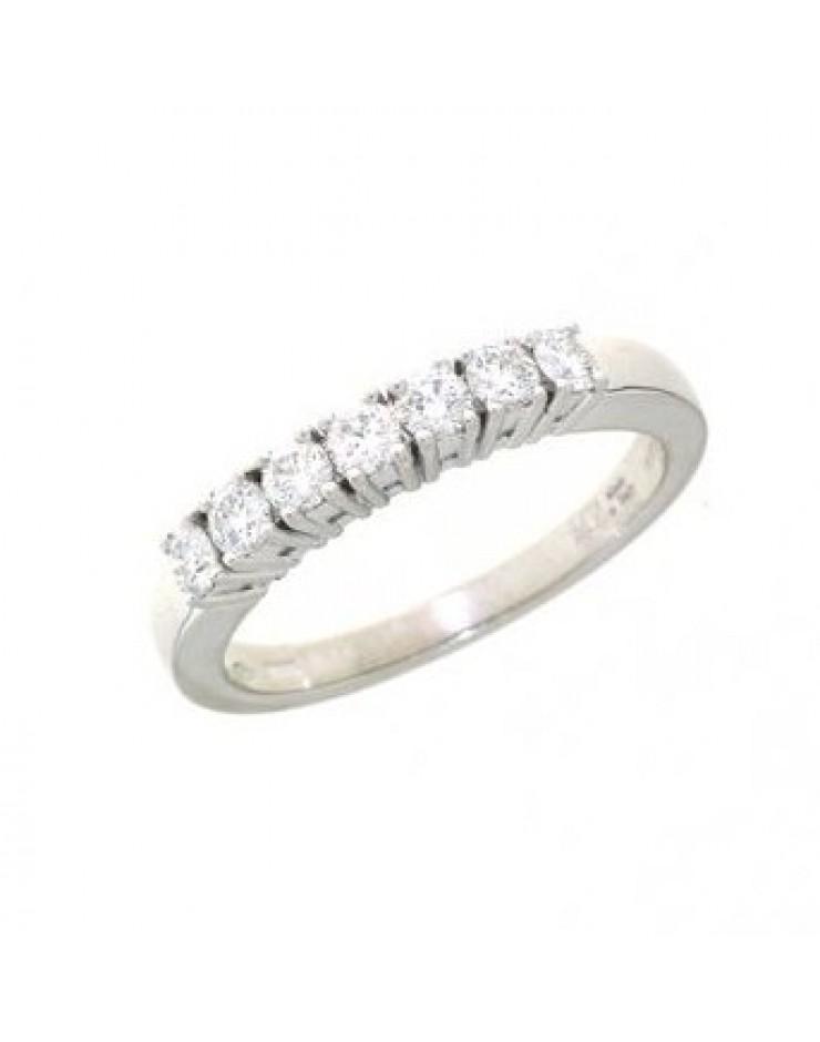 Anello donna oro bianco Veretta con diamanti ct. 0,47 Misura 14 - Cicalese Gioielli Valenza Made in Italy