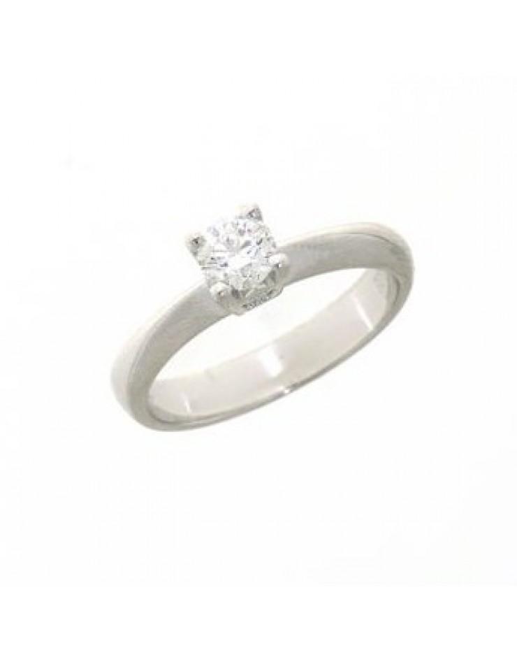 Anello donna oro bianco Solitario con diamante ct. 0,40 misura 14 - Cicalese Gioielli Valenza Made in Italy